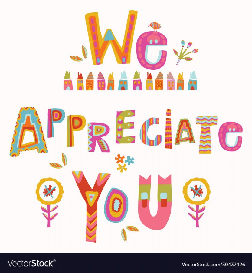 We appreciate you to care and key workers. Fight corona virus covid 19 motivational message. Cheerful thank you quote gratitude clipart with bright floral lettering. Stay home card for social.